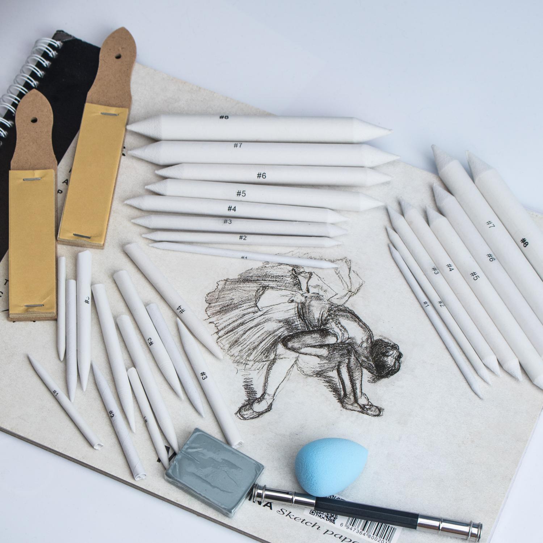 Paper Art Blenders Student Sketch Drawing Tools for Art Drawing Artist DIY wotu 6 Pieces Blending Stump and Tortillions Set